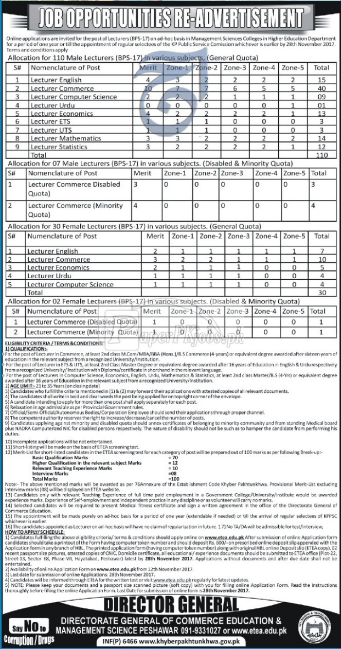 Directorate General of Commerce Education & Management Sciences Peshawar ETEA Jobs 2017