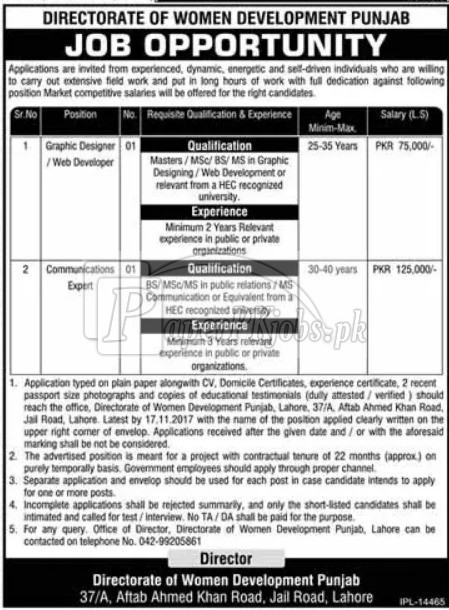 Directorate of Women Development Punjab Jobs 2017