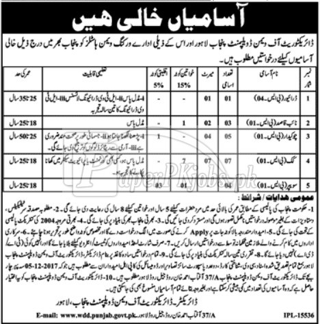 Directorate of Women Development Punjab Lahore Jobs 2017