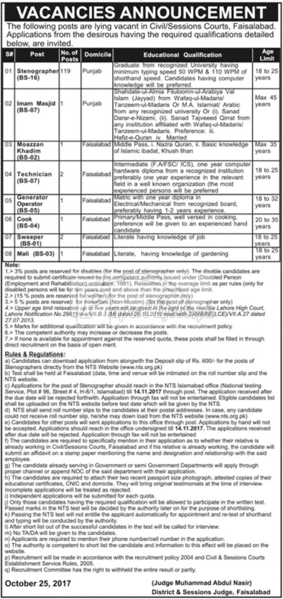 District & Session Court Faisalabad NTS Jobs 2017