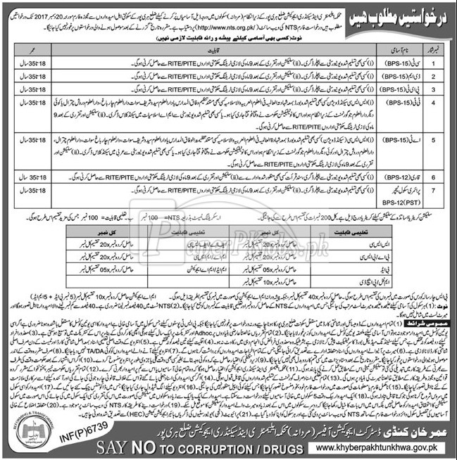 Elementary & Secondary Education Department ESED Haripur NTS