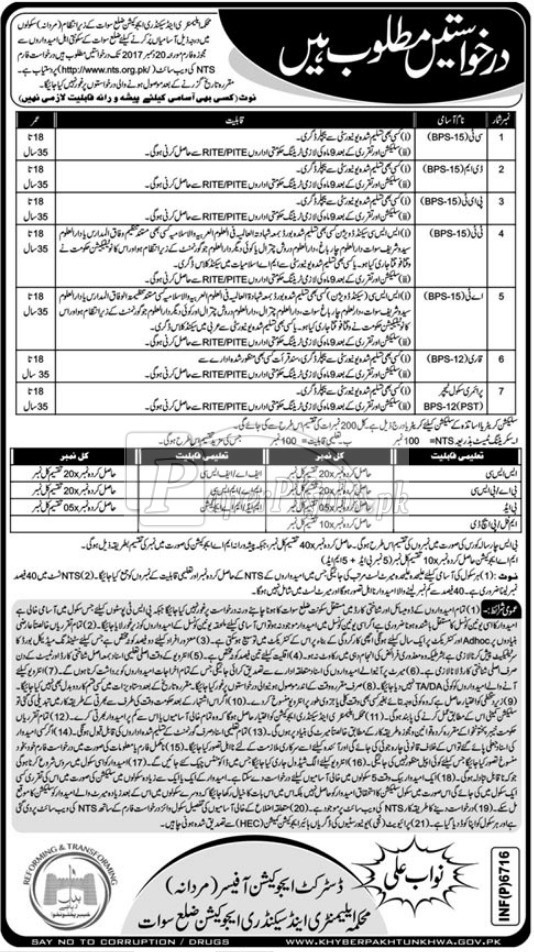 Elementary & Secondary Education Department ESED Swat NTS Jobs 2017