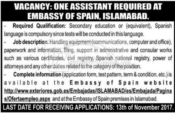 Embassy of Spain Islamabad Jobs 2017