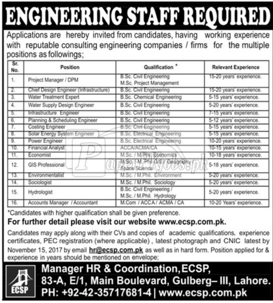 Engineering Consultancy Services Punjab ECSP Lahore Jobs 2017