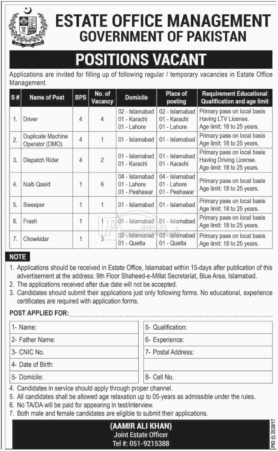 Estate Office Management Government of Pakistan Jobs 2017