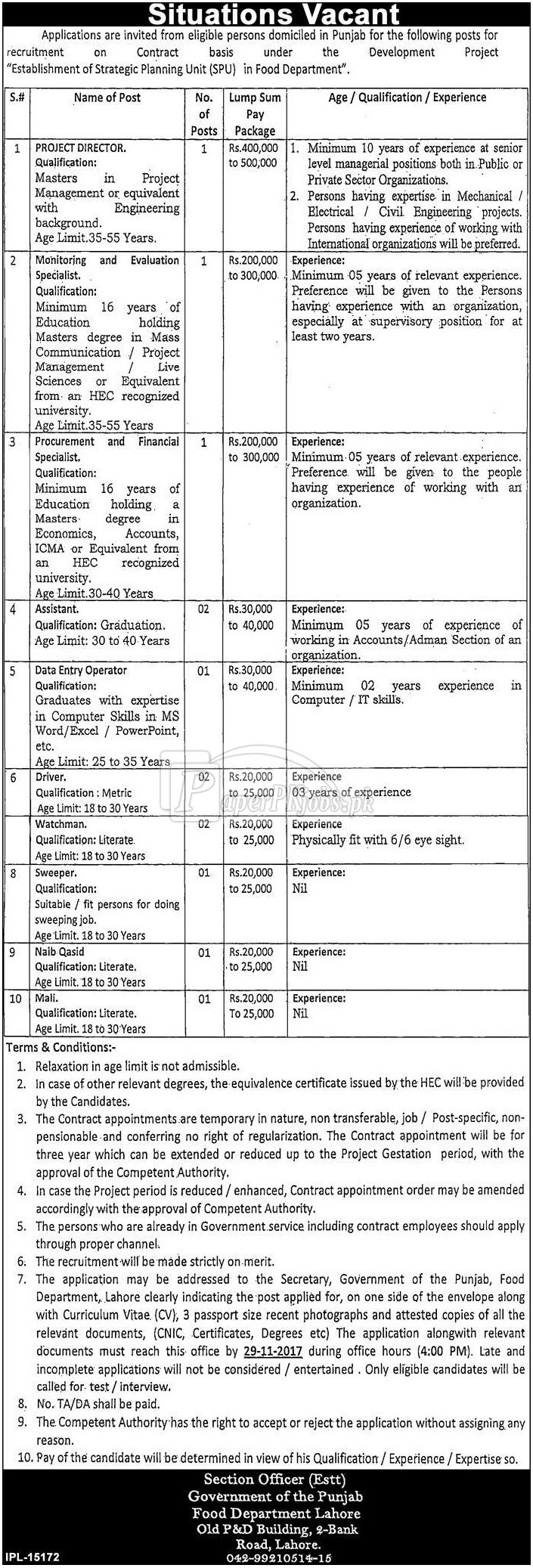 Food Department Lahore Government of Punjab Jobs 2017
