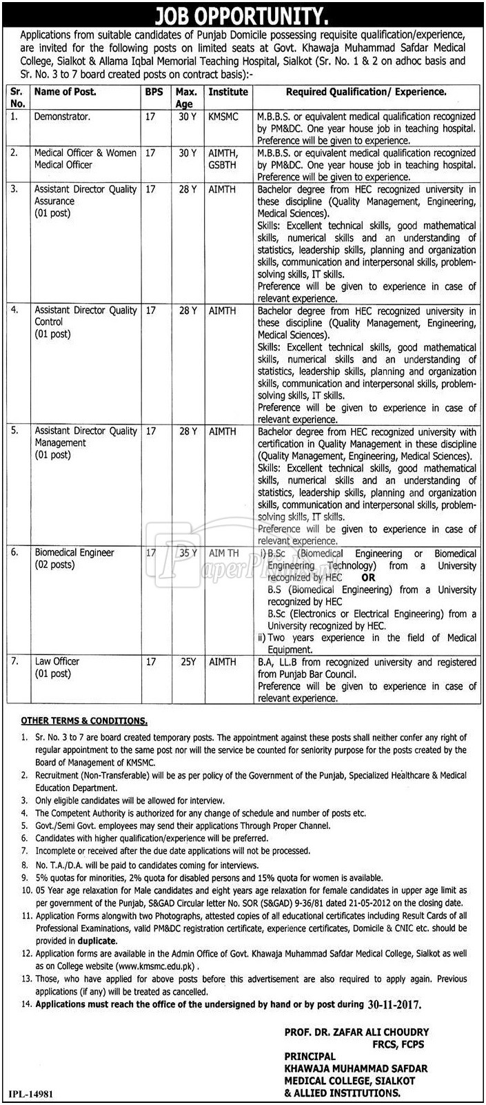 Govt Khawaja Muhammad Safdar Medical College Sialkot & Allied Institutions Jobs 2017