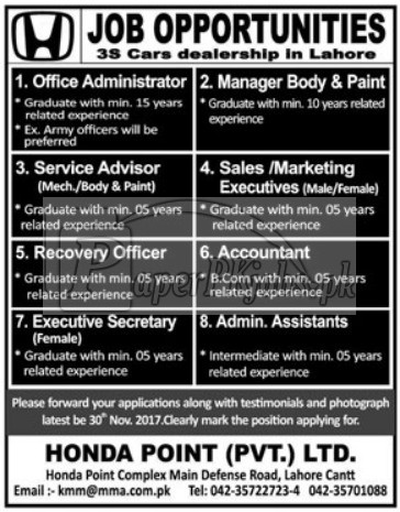Honda Point Pvt Ltd. Lahore Cantt Jobs 2017