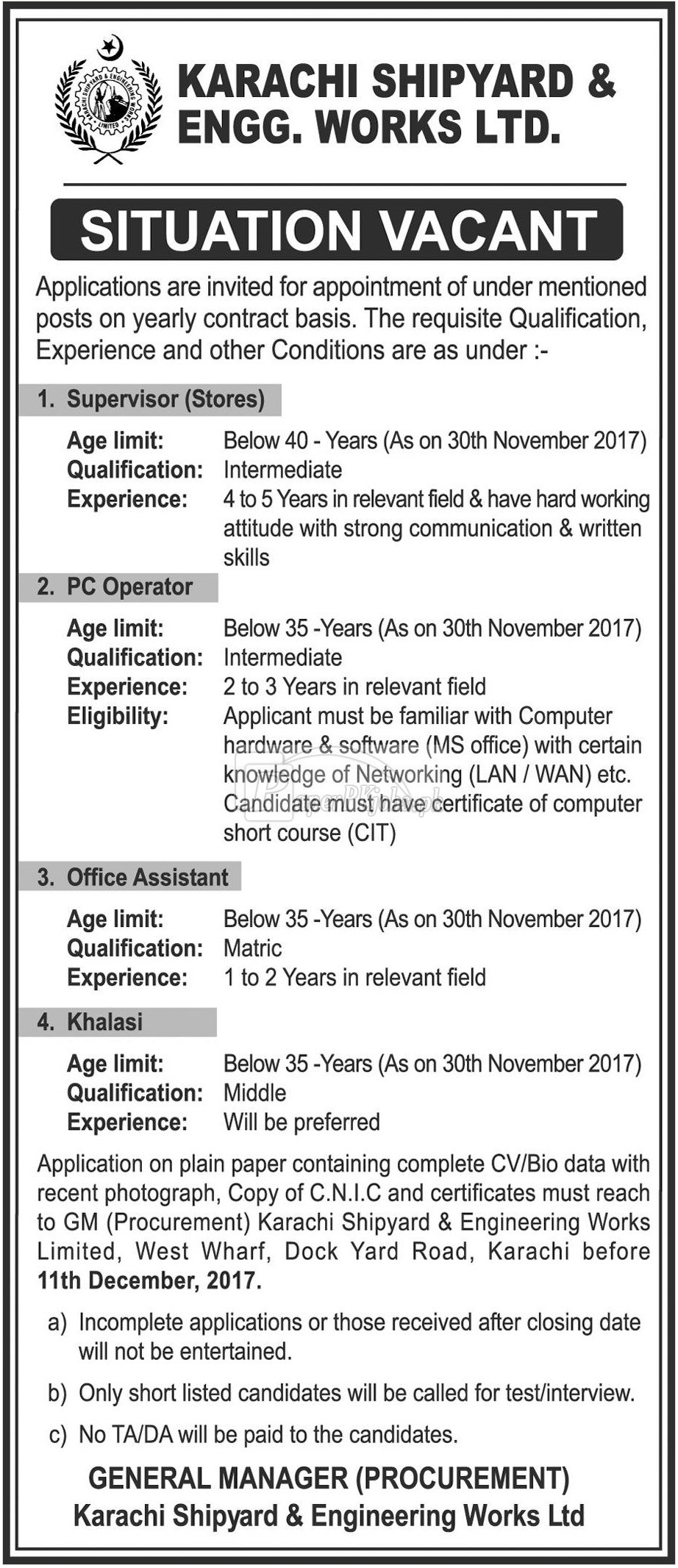 Karachi Shipyard & Engineering Works Ltd Jobs 2017Karachi Shipyard & Engineering Works Ltd Jobs 2017