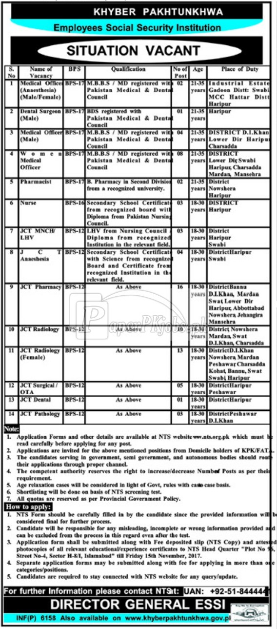 Khyber Pakhtunkhwa Employees Social Security Institution ESSI NTS Jobs 2017