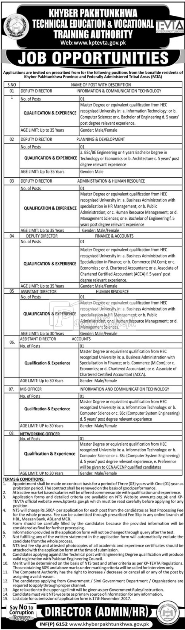 Khyber Pakhtunkhwa Technical & Vocational Training Authority KPTEVTA NTS Jobs 2017