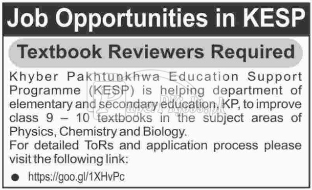 Khyer Pakhtunkhwa Education Support Programme KESP Jobs 2017