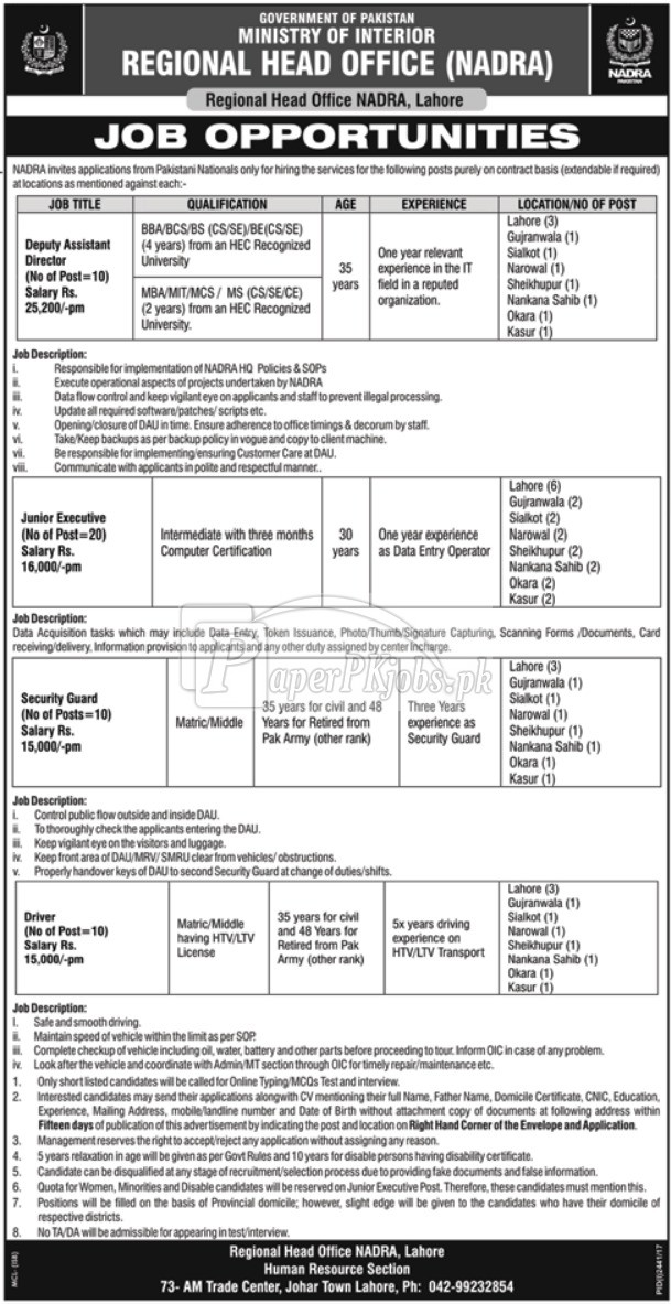 NADRA Lahore Ministry of Interior Jobs 2017