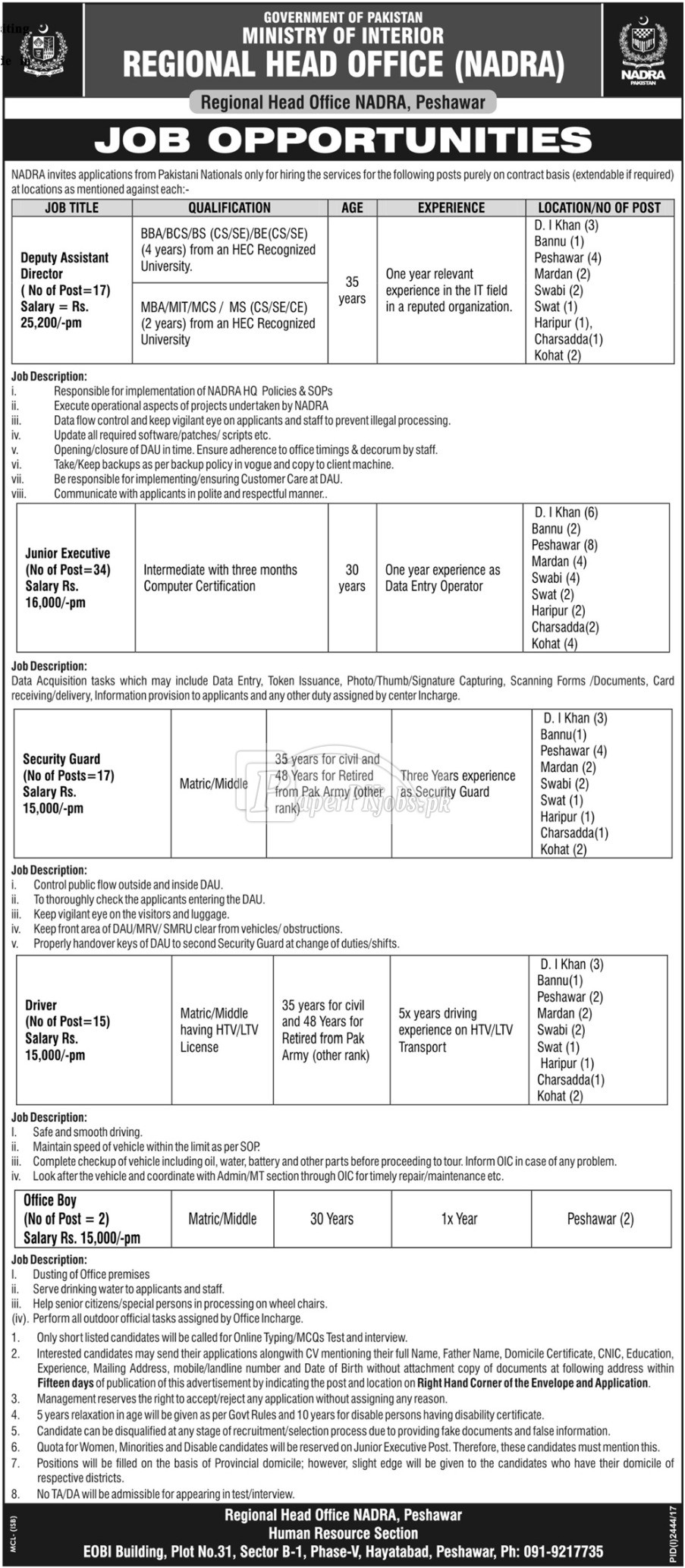 NADRA Peshawar Ministry of Interior Jobs 2017