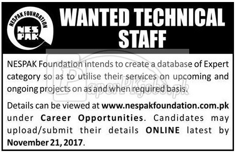 NESPAK Foundation Jobs 2017