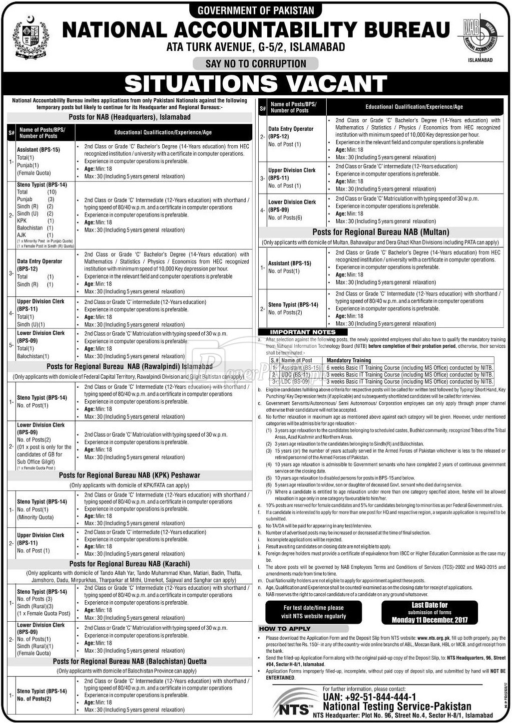 National Accountability Bureau NAB Islamabad NTS Jobs 2017