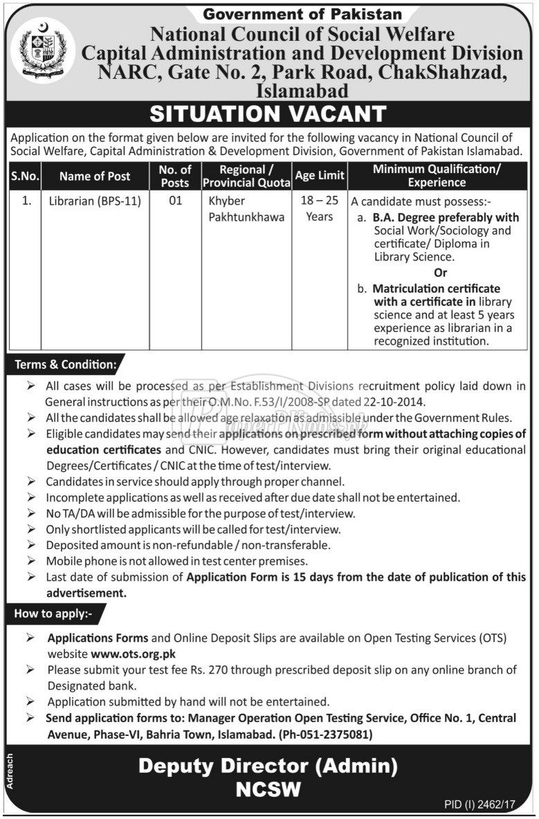 National Council of Social Welfare NCSW Islamabad OTS Jobs 2017
