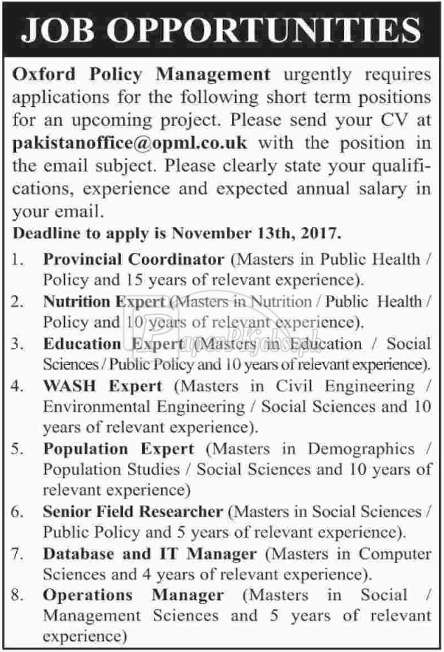 Oxford Policy Management OPM Jobs 2017