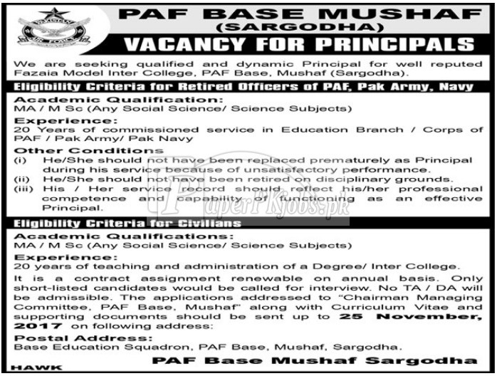 PAF Base Mushaf Sargodha Jobs 2017