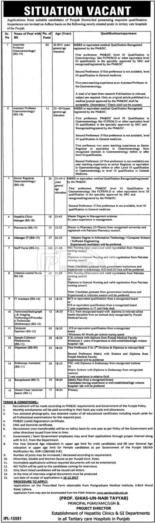 PGMI AMC LGH & Tertiary Care Hospitals Punjab Jobs 2017