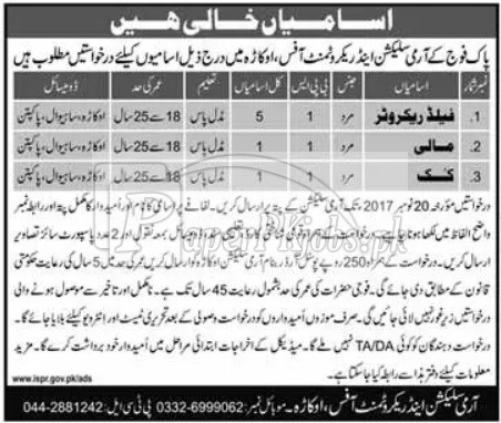 Pak Army Selection & Recruitment Office Okara Jobs 2017