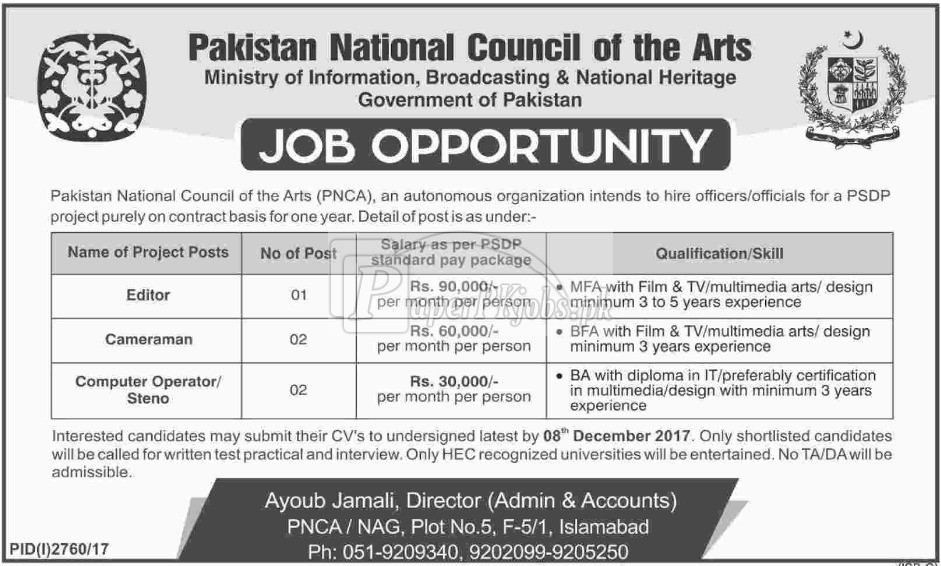 Pakistan National Council Of The Arts Pnca Islamabad Jobs 2017 Paperpk Jobs