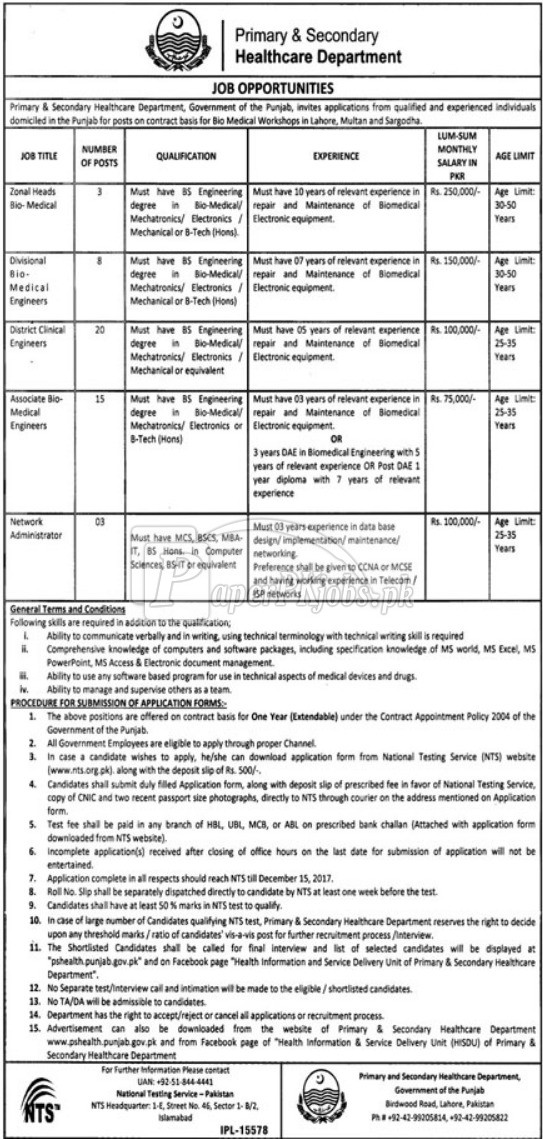 Primary & Secondary Healthcare Department Punjab NTS Jobs 2017