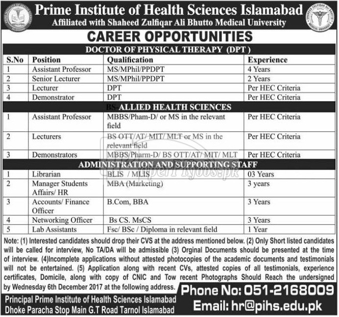 Prime Institute of Health Sciences Islamabad Jobs 2017