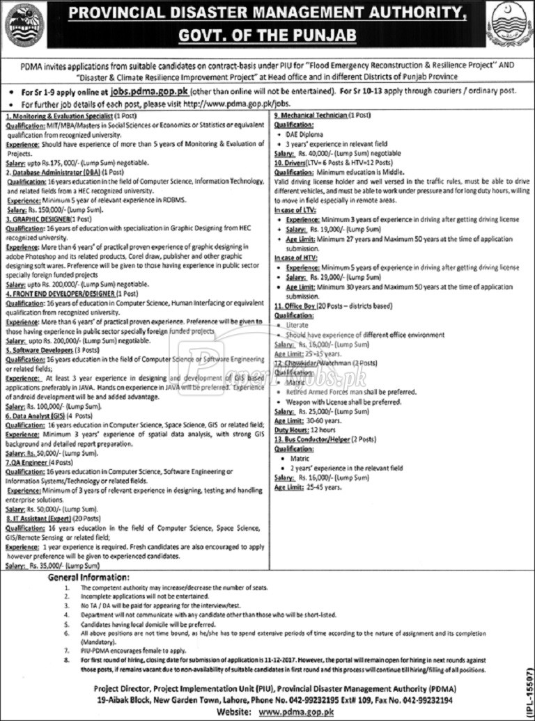 Provincial Disaster Management Authority PDMA Lahore Jobs 2017