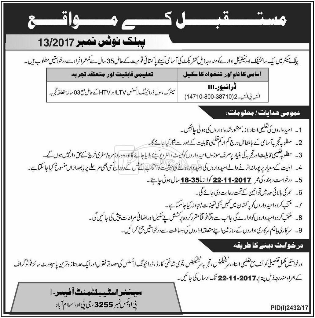 Public Sector Organization P.O. Box 3255 Islamabad Jobs 2017