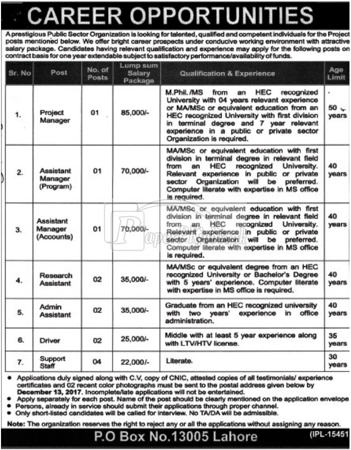 Public Sector Organization P.O.Box 13005 Lahore Jobs 2017