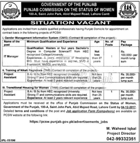 Punjab Commission on the Status of Women PCSW Lahore Jobs 2017