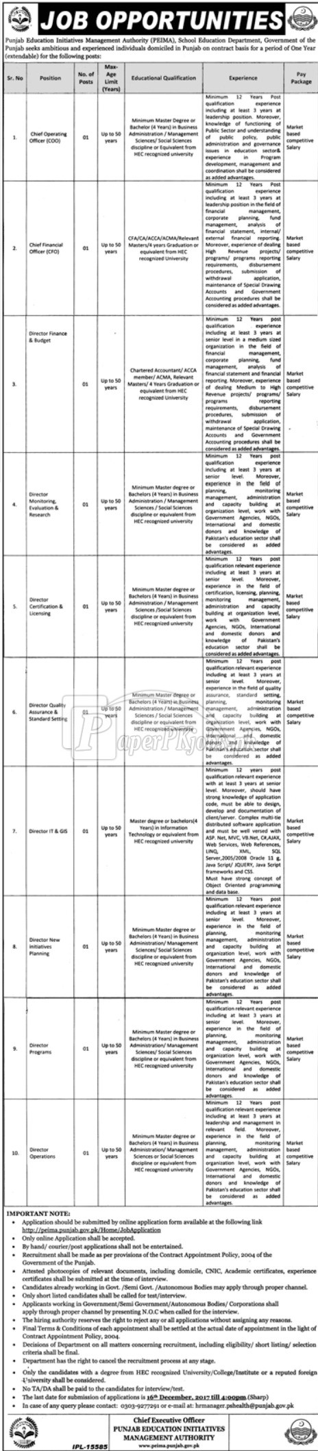 Punjab Education Initiative Management Authority PEIMA School Education Department Jobs 2017