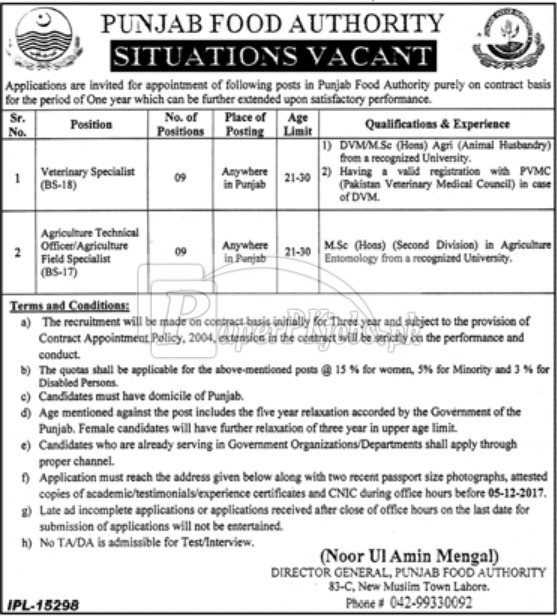 Punjab Food Authority PFA Jobs 2017