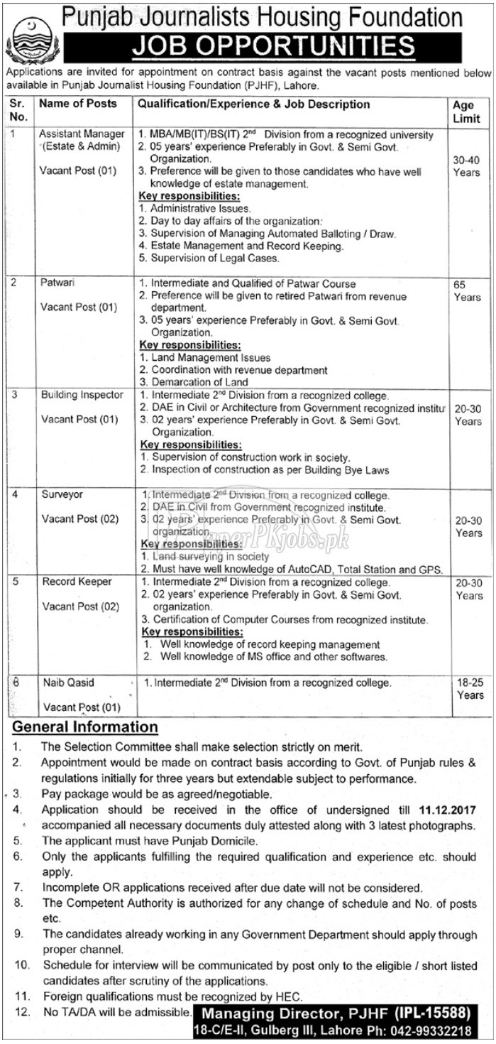 Punjab Journalists Housing Foundation PJHF Lahore Jobs 2017