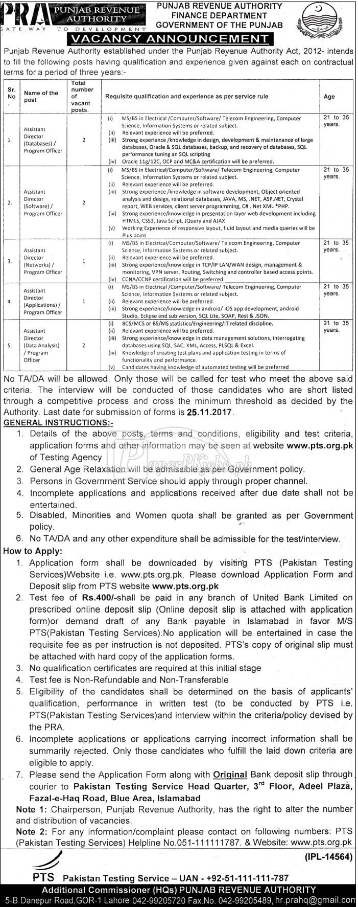Punjab Revenue Authority PRA Finance Department PTS Jobs 2017
