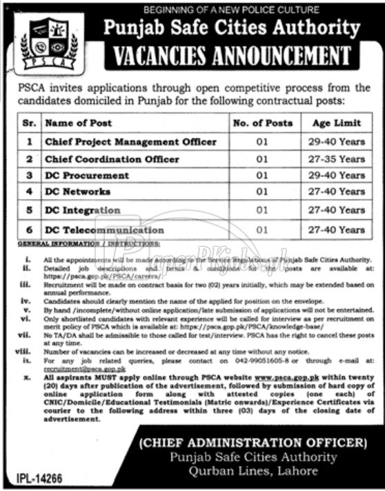 Punjab Safe Cities Authority PSCA Jobs 2017