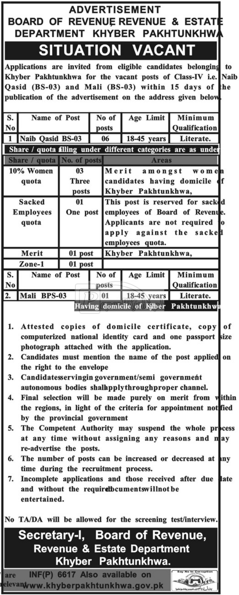Revenue & Estate Department Board of Revenue KPK Jobs 2017