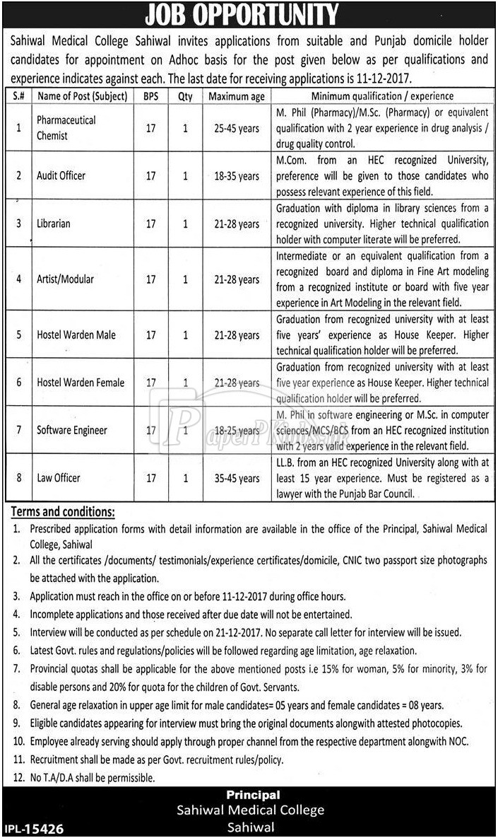 Sahiwal Medical College SMC Sahiwal Jobs 2017