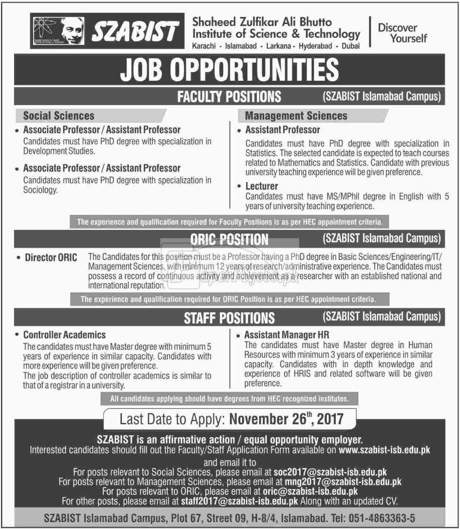 Shaheed Zulfikar Ali Bhutto Institute of Science & Technology SZABIST Jobs 2017