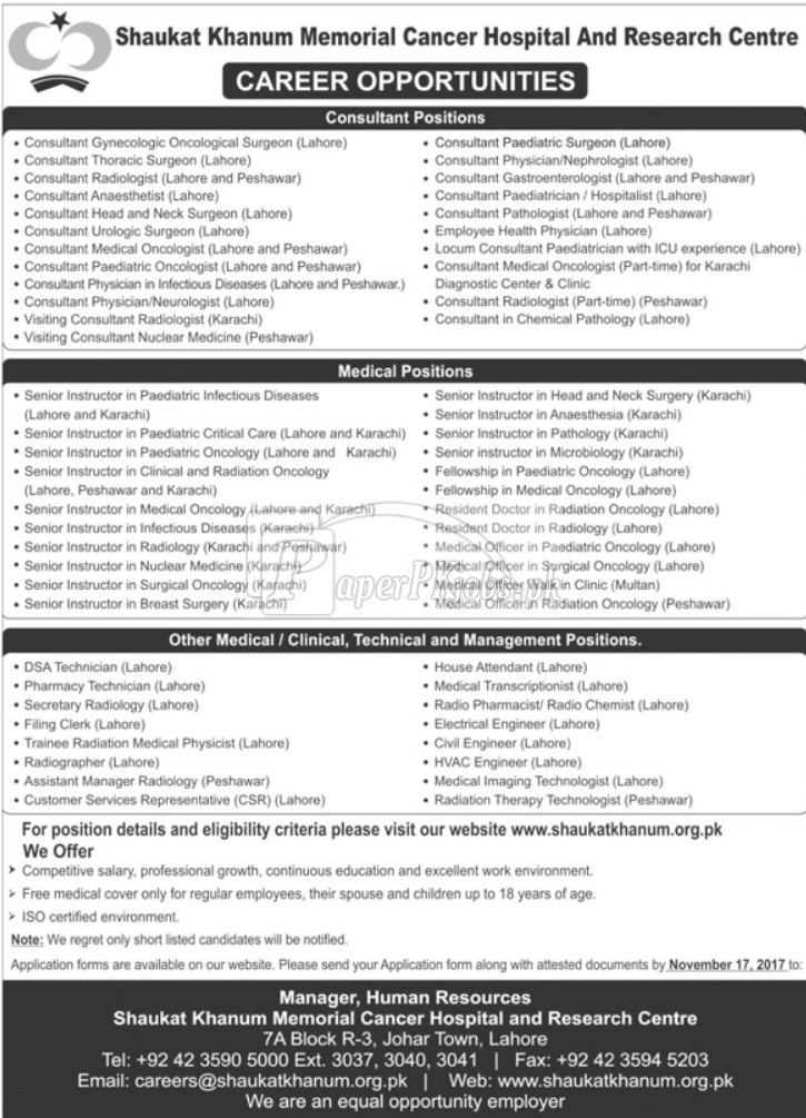 Shaukat Khanum Memorial Cancer Hospital SKMCH Jobs 2017