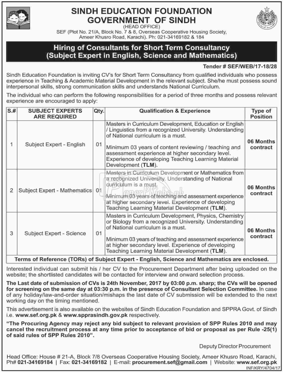 Sindh Education Foundation SEF Government of Sindh Jobs 2017