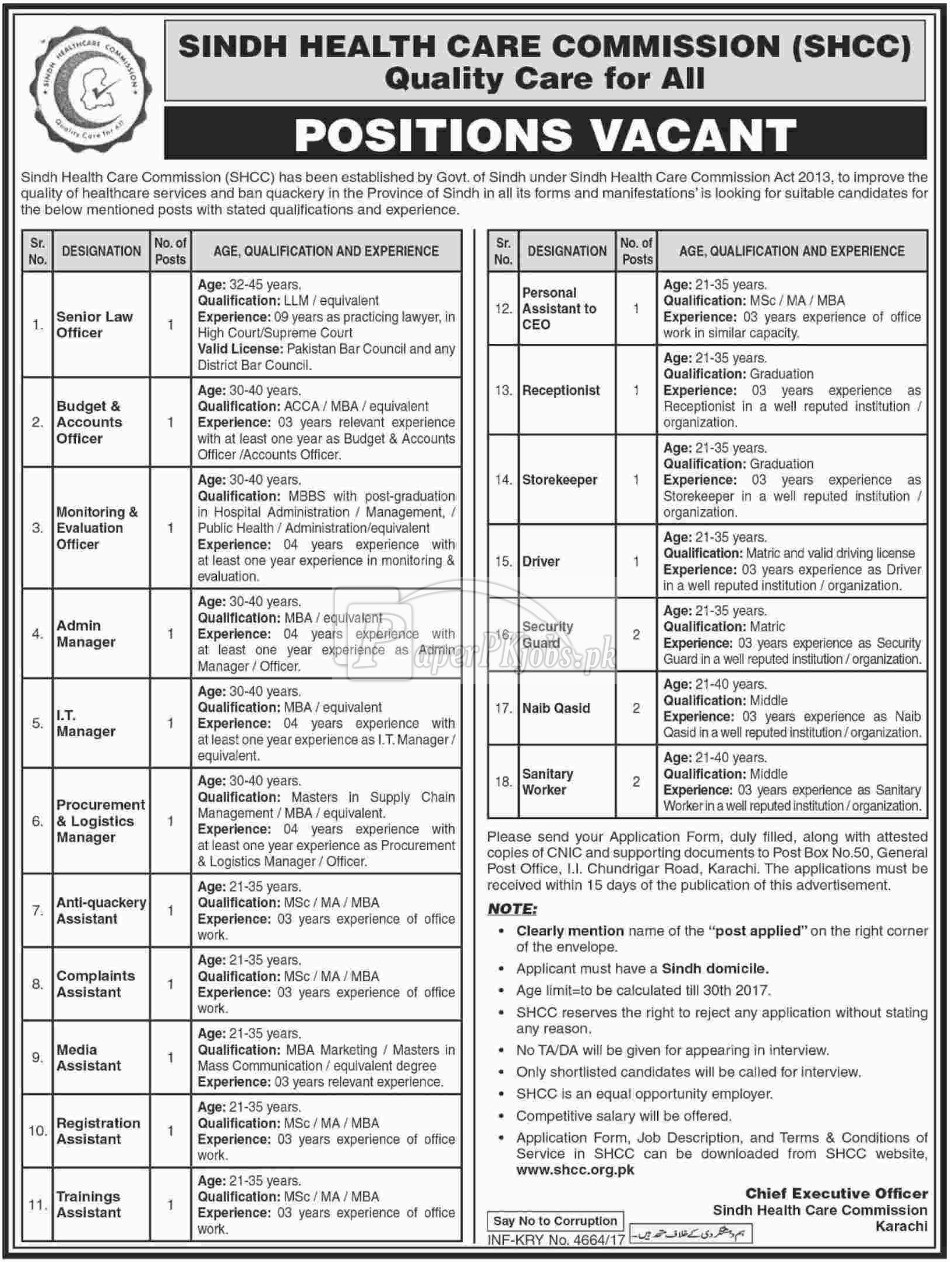 Sindh Health Care Commission SHCC Karachi Jobs 2017
