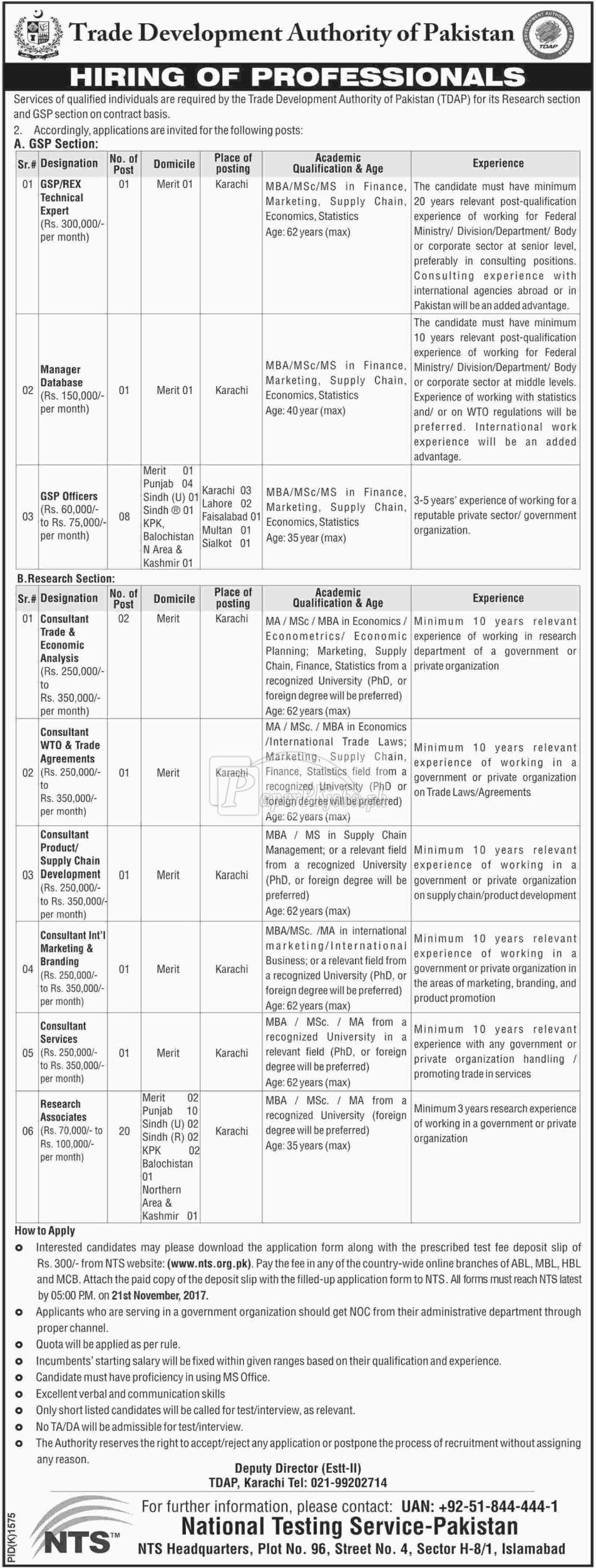 Trade Development Authority of Pakistan TDAP NTS Jobs 2017