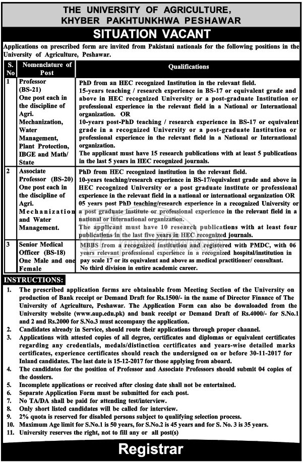 University of Agriculture Peshawar KPK Jobs 2017