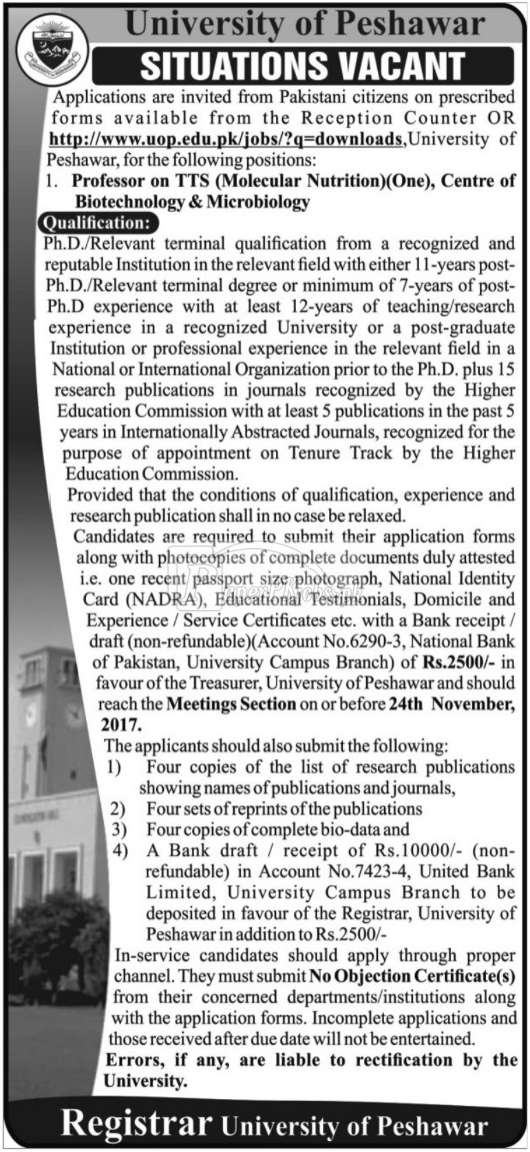 University of Peshawar Jobs 2017