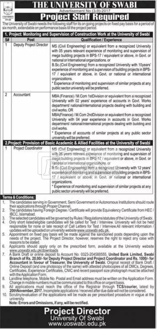 University of Swabi Jobs 2017(1)