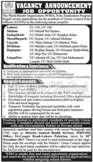 World Health Organization WHO Punjab Jobs 2017