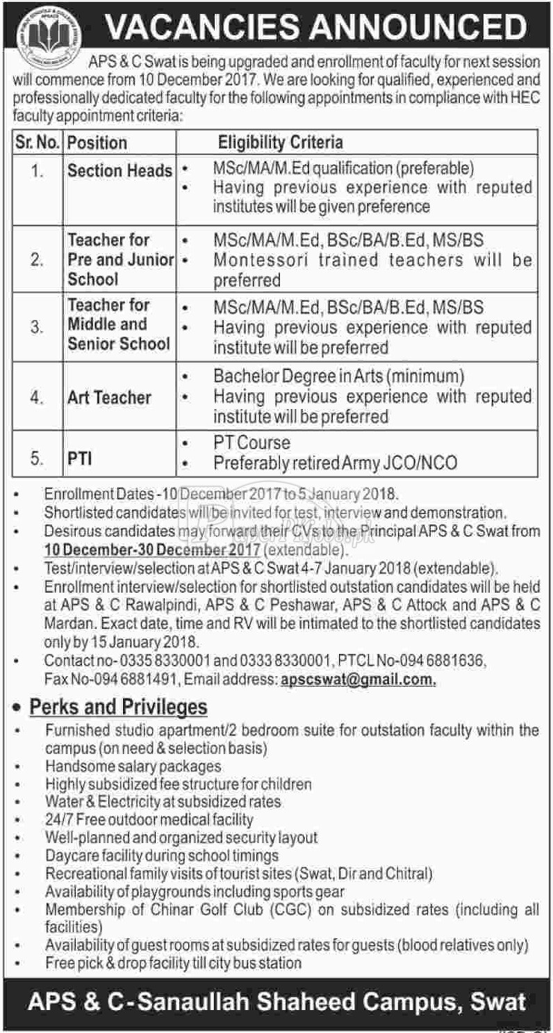 Army Public School & College Swat Jobs 2017