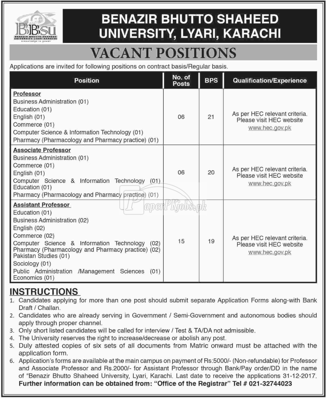 Benazir Bhutto Shaheed University Karachi Jobs 2017